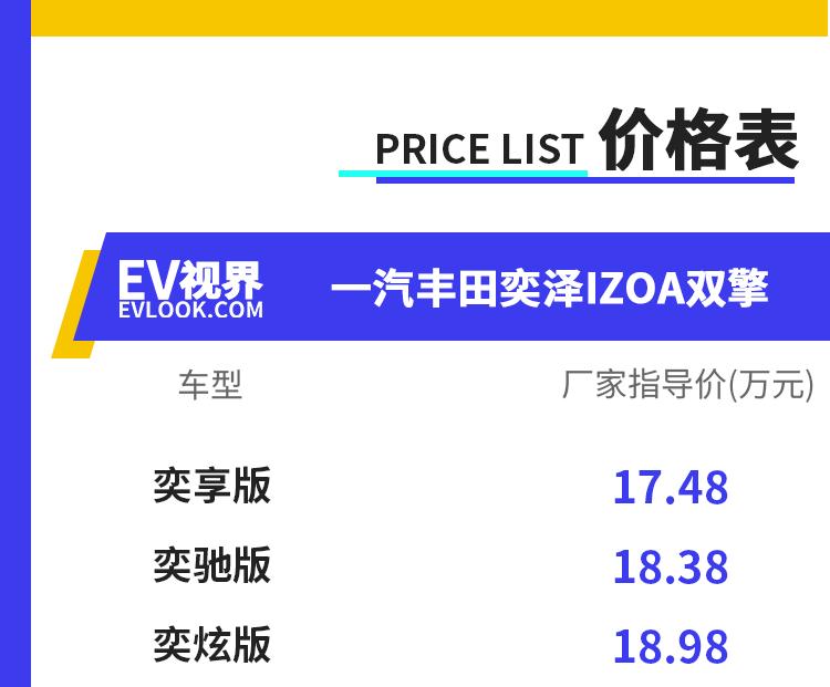 售价17.48万元起 一汽丰田全新奕泽IZOA双擎正式上市