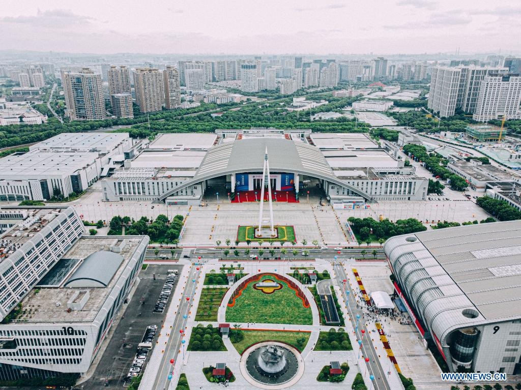 Aerial photo taken on June 8, 2021 shows the main venue of the 2nd China-Central and Eastern European Countries (CEEC) Expo in Ningbo, east China's Zhejiang Province. The 2nd China-CEEC Expo opened in Ningbo on Tuesday. (Xinhua/Jiang Han)