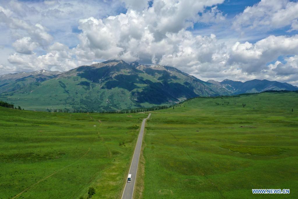 Aerial photo taken on June 9, 2021 shows scenery in Hemu Village of Kanas, northwest China's Xinjiang Uygur Autonomous Region. (Xinhua/Sadat)