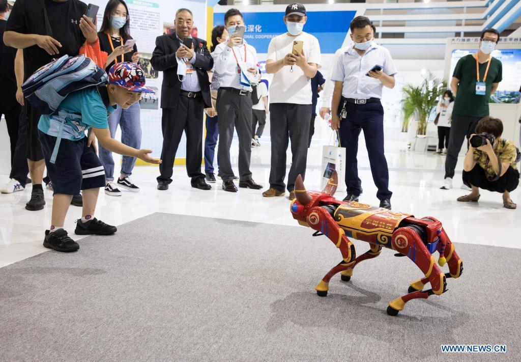 A child interacts with a cattle-shaped robot at the second China-Central and Eastern European Countries (CEEC) Expo in Ningbo, east China's Zhejiang Province, June 9, 2021. The expo opened to public visitors on Wednesday. Themed