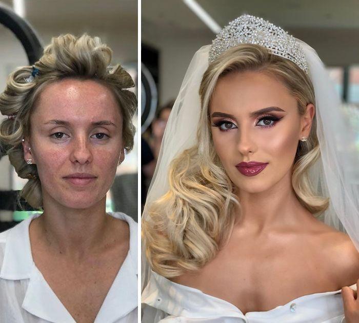 新娘才是女人最美的时候,化妆前后判若两人,新郎都认不出来了