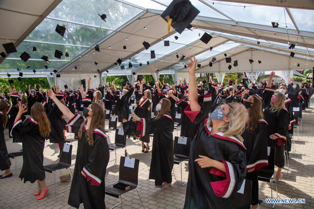 Students throw their mortarboards in the air during a graduation ceremony at Riga Stradins University in Riga, Latvia, on June 29, 2021. (Photo by Edijs Palens/Xinhua)