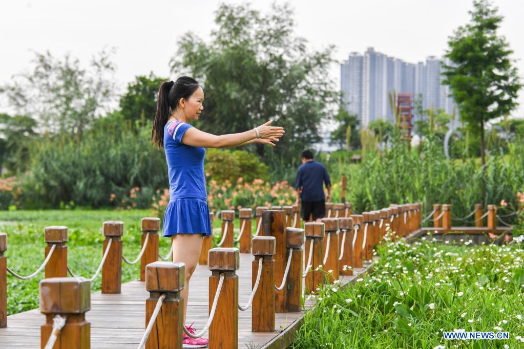A woman does morning exercises at the Nakao River wetland park in Nanning, south China's Guangxi Zhuang Autonomous Region, July 8, 2020. Nakao River in Nanning was once a polluted muddy gutter lined with sewage outlets. In 2015, a public-private partnership (PPP) project was rolled out to improve the ecological environment along the river. Pollution control measures including sewage interception and treatment, as well as aquatic ecosystem restoration, have helped turn the river into a wetland park with lucid waters. (Xinhua/Cao Yiming)
