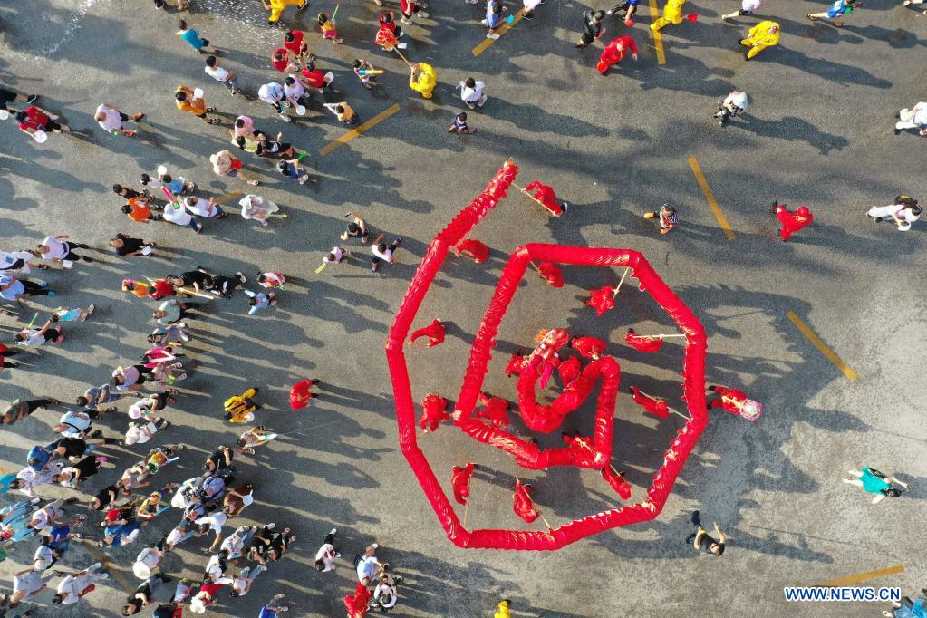Aerial photo shows a dragon dance team performing during
