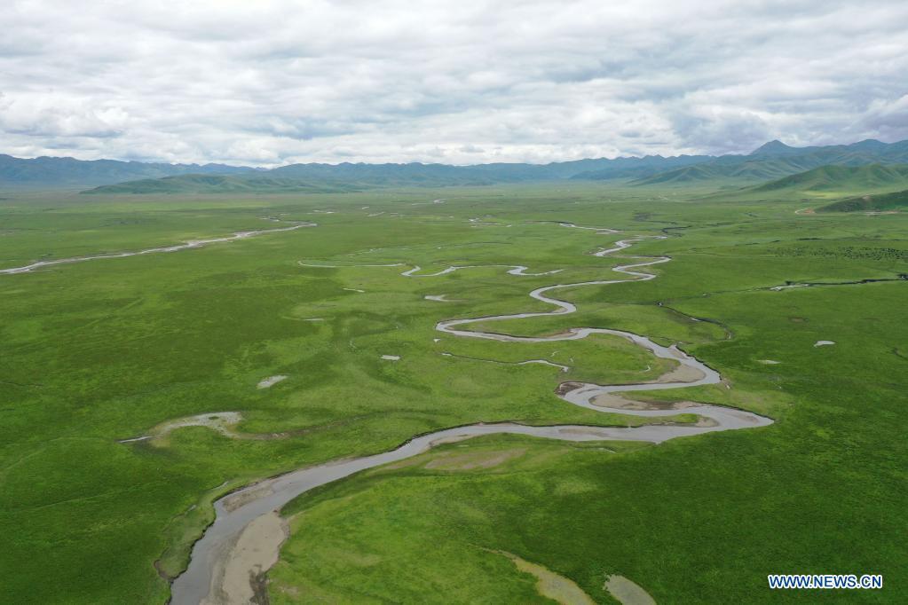 Aerial photo taken on July 15, 2021 shows the scenery of the Awancang Wetland in Maqu County, Gannan Tibetan Autonomous Prefecture, northwest China's Gansu Province. (Xinhua/Wen Jing)
