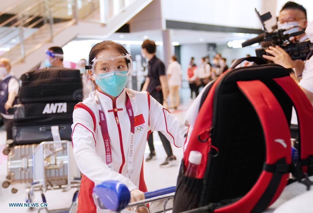 A member of Chinese Olympic delegation arrives at the Narita airport in Tokyo, Japan, July 18, 2021. (Xinhua/Li Yibo)