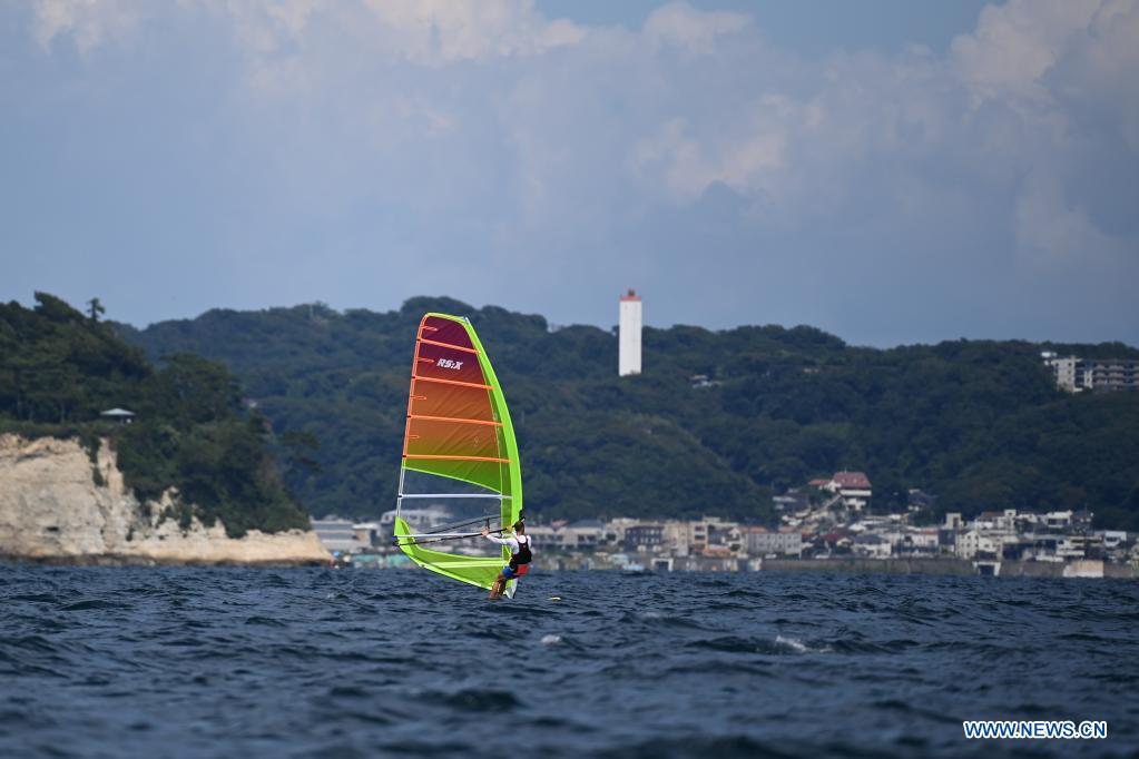 A sailor of men's RS:X class attends a training session at Enoshima Yacht Harbour, in Kanagawa, Japan, on July 20, 2021. (Xinhua/Huang Zongzhi)
