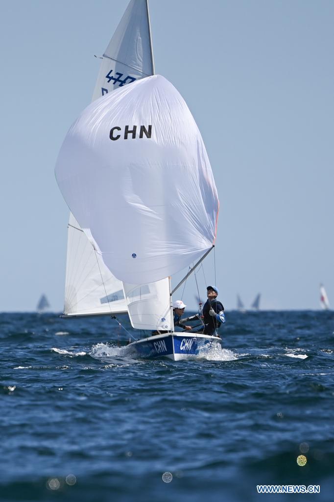 Chinese sailors of men's 470 class Wang Yang(R) and Xu Zangjun attend a training session at Enoshima Yacht Harbour, in Kanagawa, Japan, on July 20, 2021. (Xinhua/Huang Zongzhi)