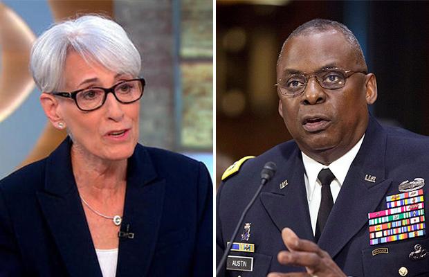 美国常务副国务卿温迪·谢尔曼(左)美国国防部长劳埃德·奥斯汀(右)