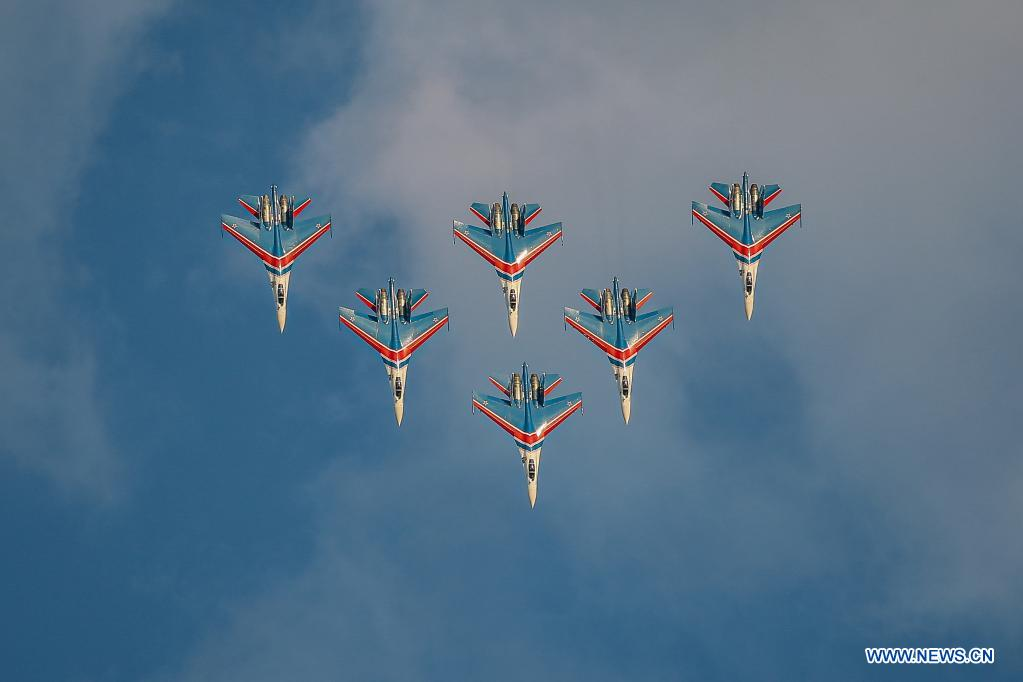 The Russian Knights aerobatic demonstration team performs during the opening day of the International Aviation and Space Salon (MAKS)-2021 in a Moscow suburb, Russia, on July 20, 2021. MAKS-2021 kicked off in a Moscow suburb on Tuesday. (Xinhua/Evgeny Sinitsyn)