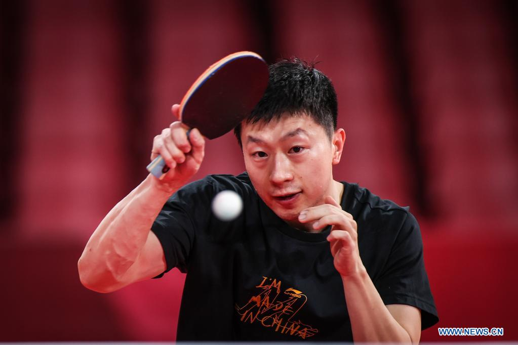 Chinese table tennis player Ma Long attends a training session ahead of the Tokyo 2020 Olympic Games at Tokyo Metropolitan Gymnasium in Tokyo, Japan, July 21, 2021. (Xinhua/Pan Yulong)