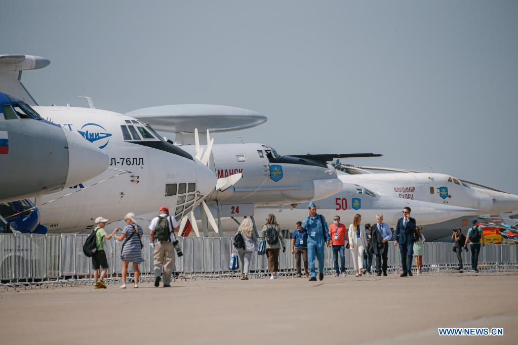 People visit the International Aviation and Space Salon (MAKS)-2021 in a Moscow suburb, Russia, on July 20, 2021. MAKS-2021 kicked off in a Moscow suburb on Tuesday. (Xinhua/Evgeny Sinitsyn)