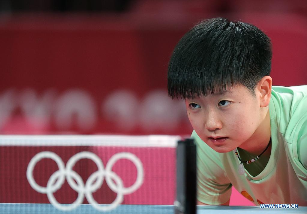 Chinese table tennis player Sun Yingsha attends a training session ahead of the Tokyo 2020 Olympic Games at Tokyo Metropolitan Gymnasium in Tokyo, Japan, July 21, 2021. (Xinhua/Wang Dongzhen)