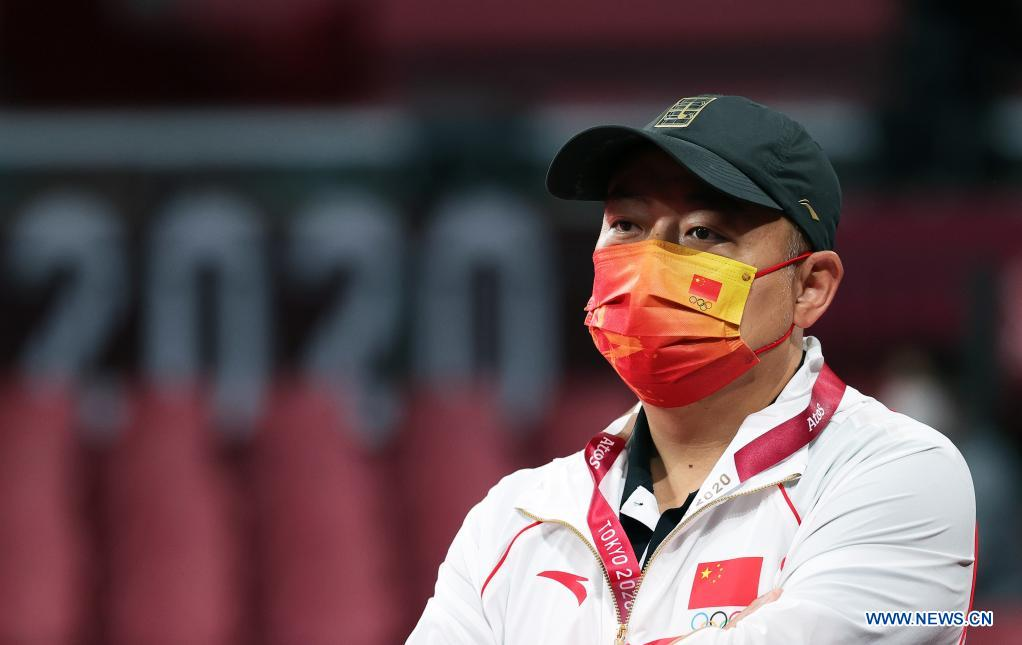 President of the Chinese Table Tennis Association Liu Guoliang is seen during a training session ahead of the Tokyo 2020 Olympic Games at Tokyo Metropolitan Gymnasium in Tokyo, Japan, July 21, 2021. (Xinhua/Wang Dongzhen)
