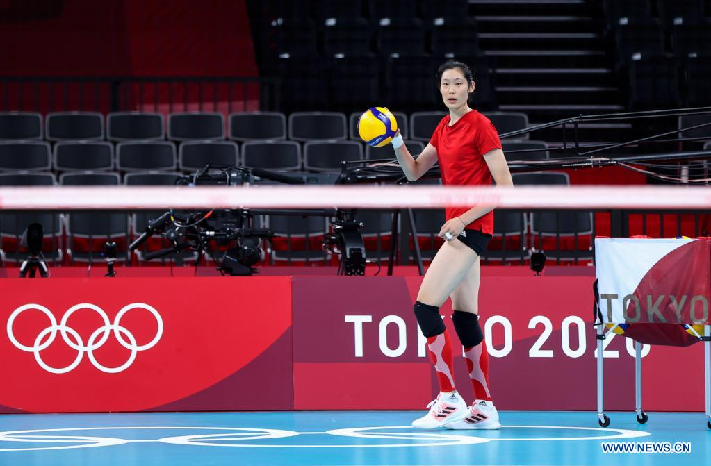 Zhu Ting of China's women's volleyball team attends a training session at Ariake Arena in Tokyo, Japan, July 21, 2021. (Xinhua/Ding Ting)