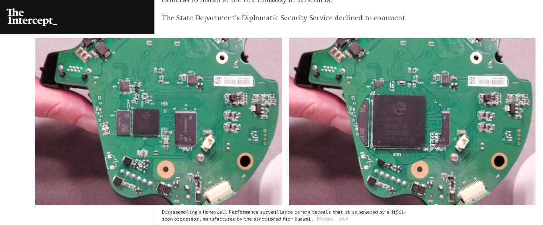 """(图为""""拦截者""""网站发现一家美国本土企业制造和销售的监控摄像头,不仅与大华的一款摄像头很是相似,而且还使用了华为公司生产的海思芯片)"""
