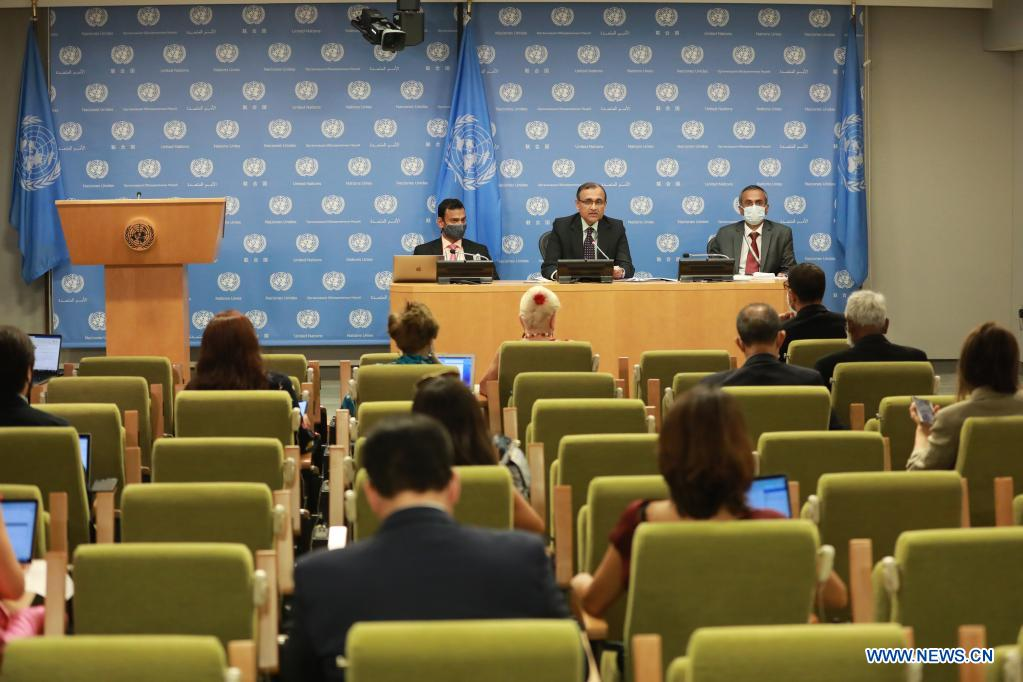 T.S. Tirumurti (C, Rear), the Indian UN ambassador, whose country holds the Security Council presidency for the month of August, addresses a press conference at the UN headquarters in New York, on Aug. 2, 2021. The Security Council is not considering a peacekeeping force in Afghanistan although the situation in the country is a matter of grave concern in light of the abrupt withdrawal of U.S. forces, said T.S. Tirumurti. (Xinhua/Xie E)
