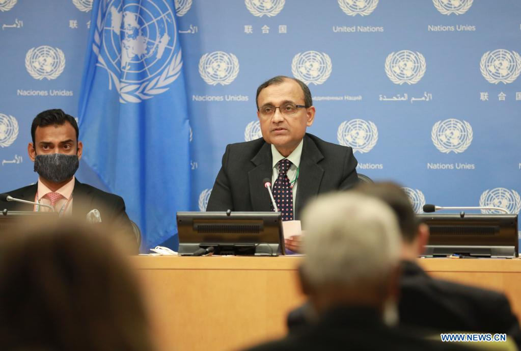 T.S. Tirumurti (R, Rear), the Indian UN ambassador, whose country holds the Security Council presidency for the month of August, addresses a press conference at the UN headquarters in New York, on Aug. 2, 2021. The Security Council is not considering a peacekeeping force in Afghanistan although the situation in the country is a matter of grave concern in light of the abrupt withdrawal of U.S. forces, said T.S. Tirumurti. (Xinhua/Xie E)