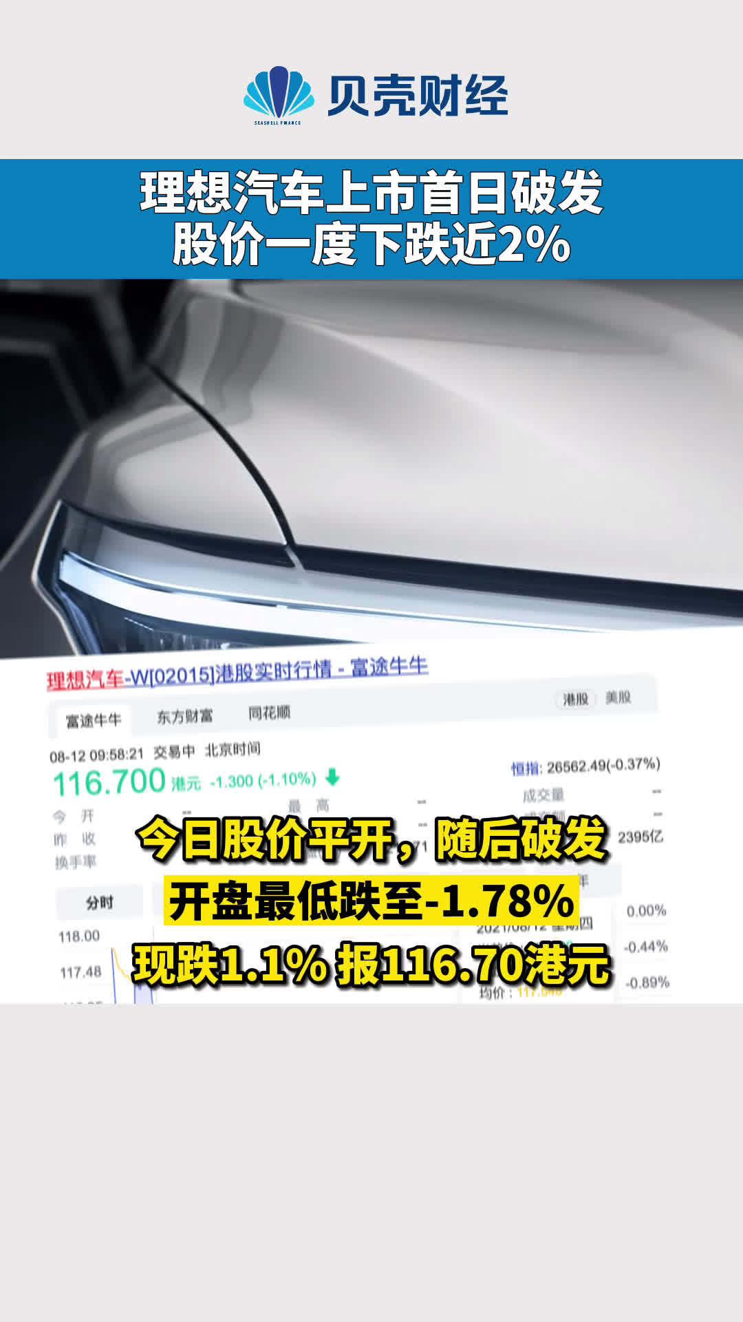 理想汽车上市首日破发  股价一度下跌近2%