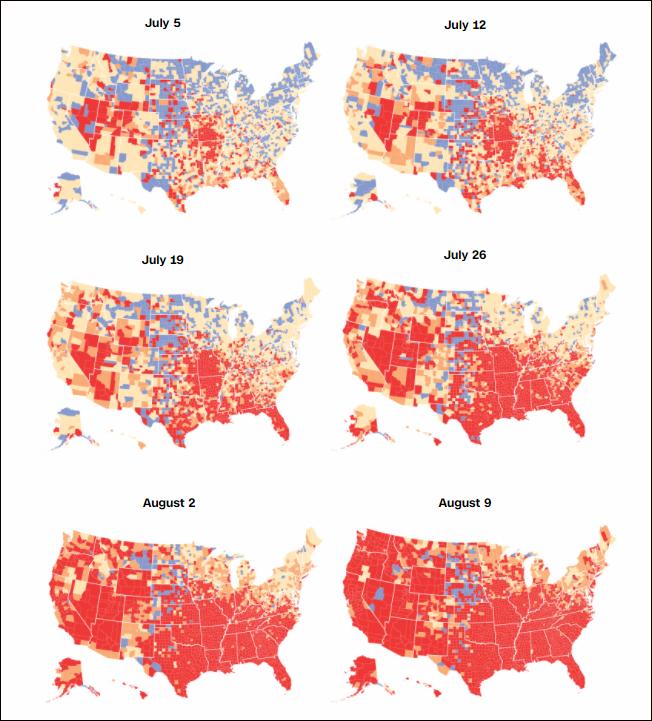 """一个月内,美国疫情""""高风险""""社区从19%升至90%"""