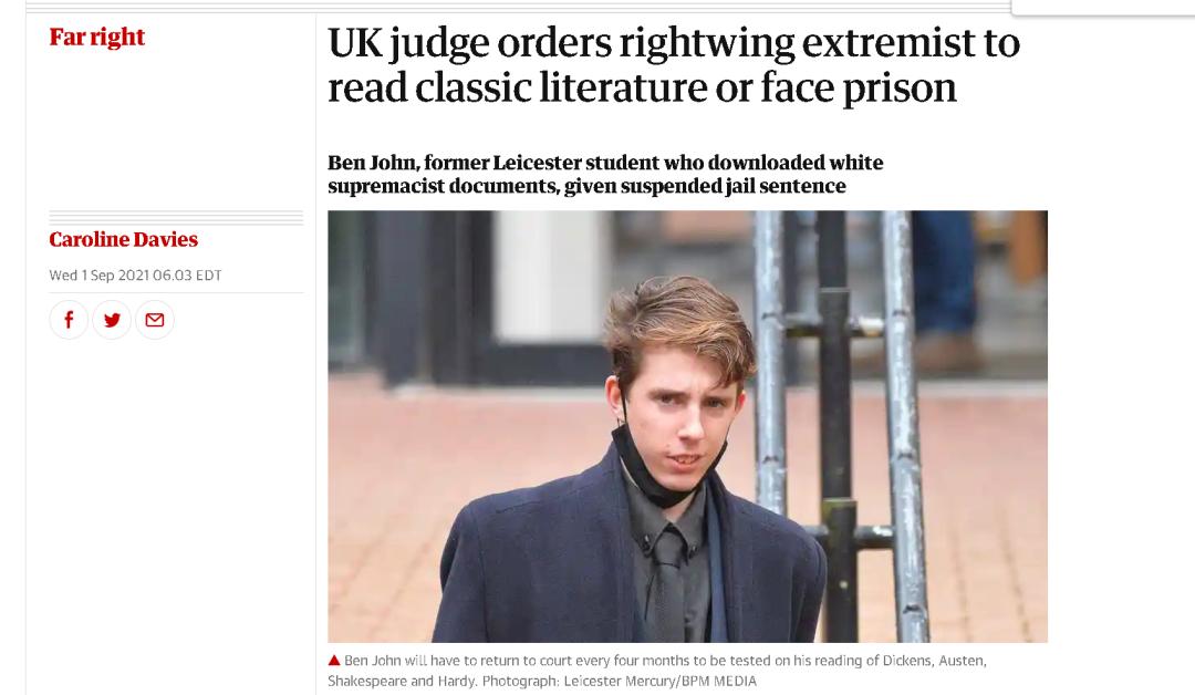 """""""恐怖分子""""会背英国古典文学,就不用去监狱?"""