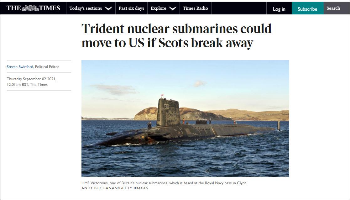 苏格兰若独立 英国就把核潜艇基地迁到美国或法国?
