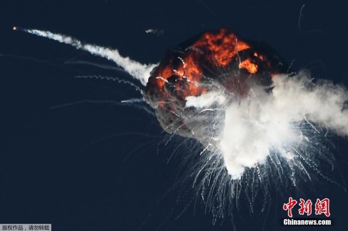 美航天公司火箭首飞爆炸 在空中炸成一团火球(图)