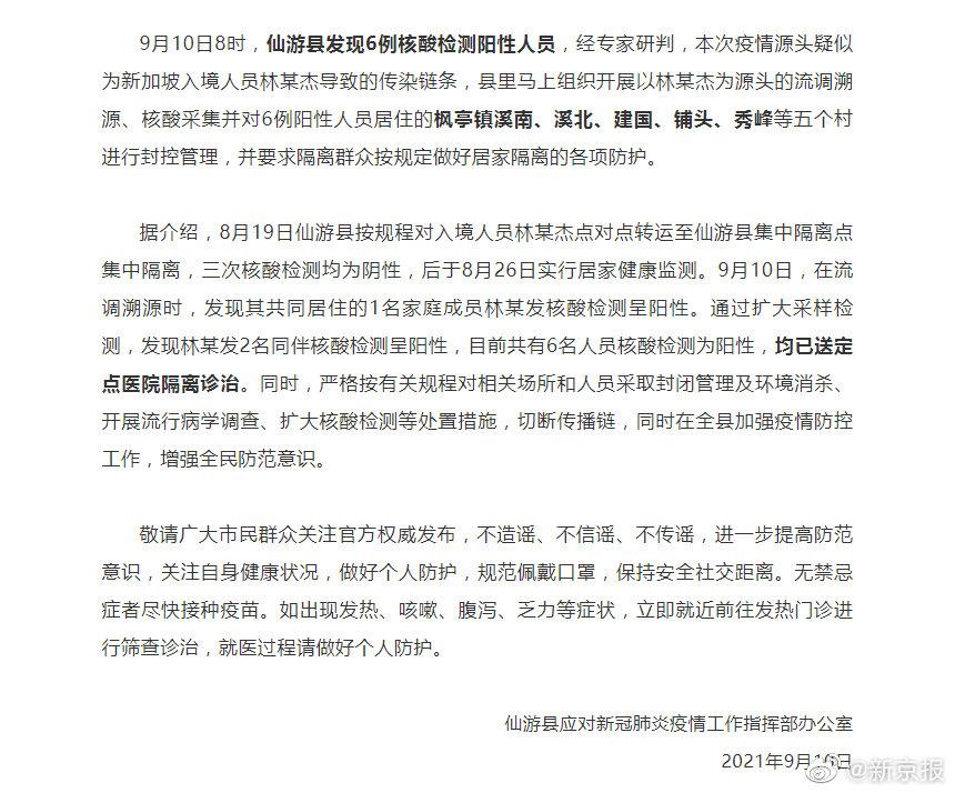 莆田仙游县发现6例核酸阳性,源头疑为一<a href=