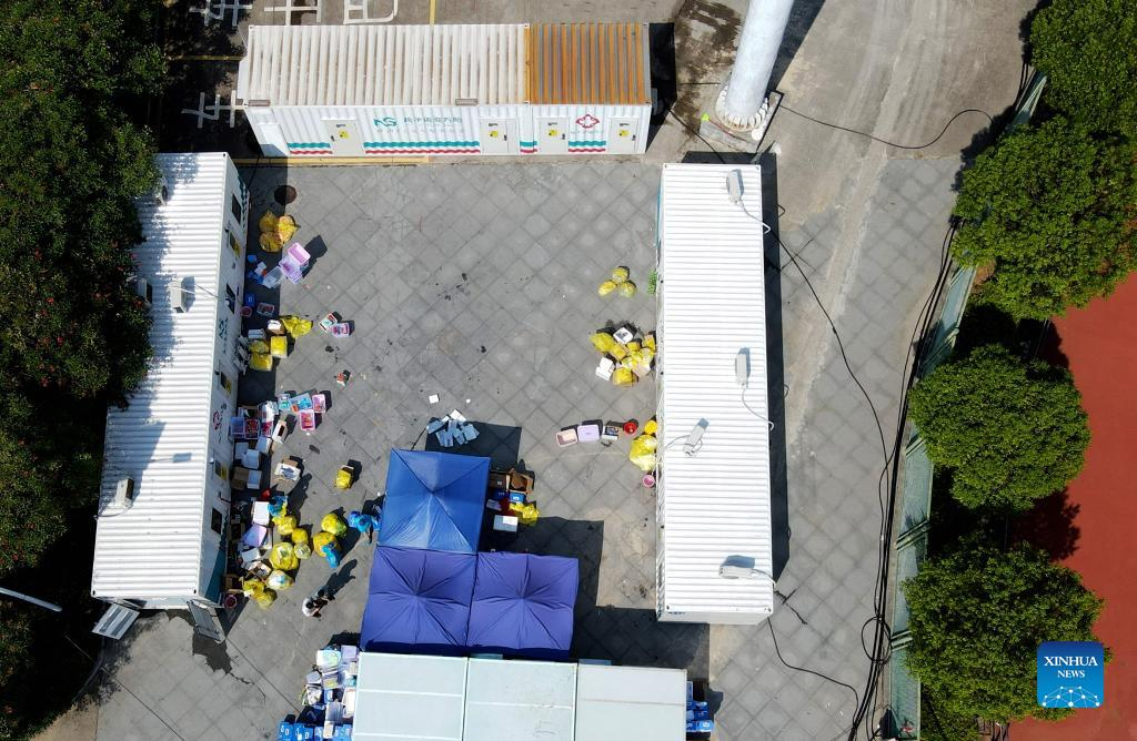 Photo taken on Sept. 14, 2021 shows a nucleic acid testing site with three PCR (polymerase chain reaction) labs in Xianyou County, southeast China's Fujian Province. Three PCR labs have been built in the county to boost nucleic acid detection capacity. (Xinhua/Wei Peiquan)