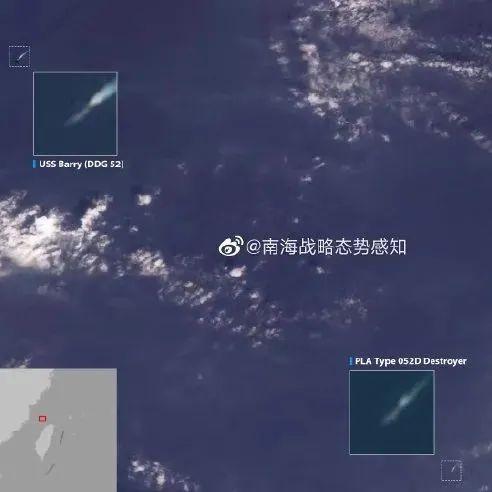 现场卫星图!美舰穿越台海 中国052D驱逐舰跟踪警戒