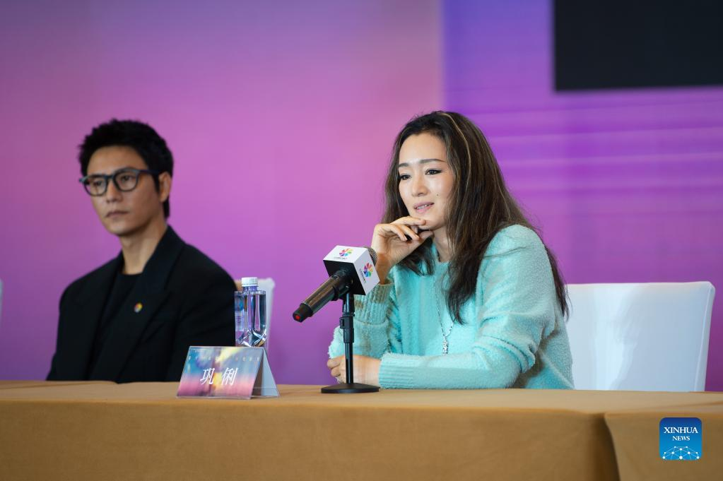 The Tiantan Awards jury member Gong Li (R) is seen at the press conference during the 11th Beijing International Film Festival in Beijing, capital of China, Sept. 21, 2021. The 11th Beijing International Film Festival runs from Sept. 21 to 29, with nearly 300 films to be screened, according to the organizers. (Xinhua/Chen Zhonghao)