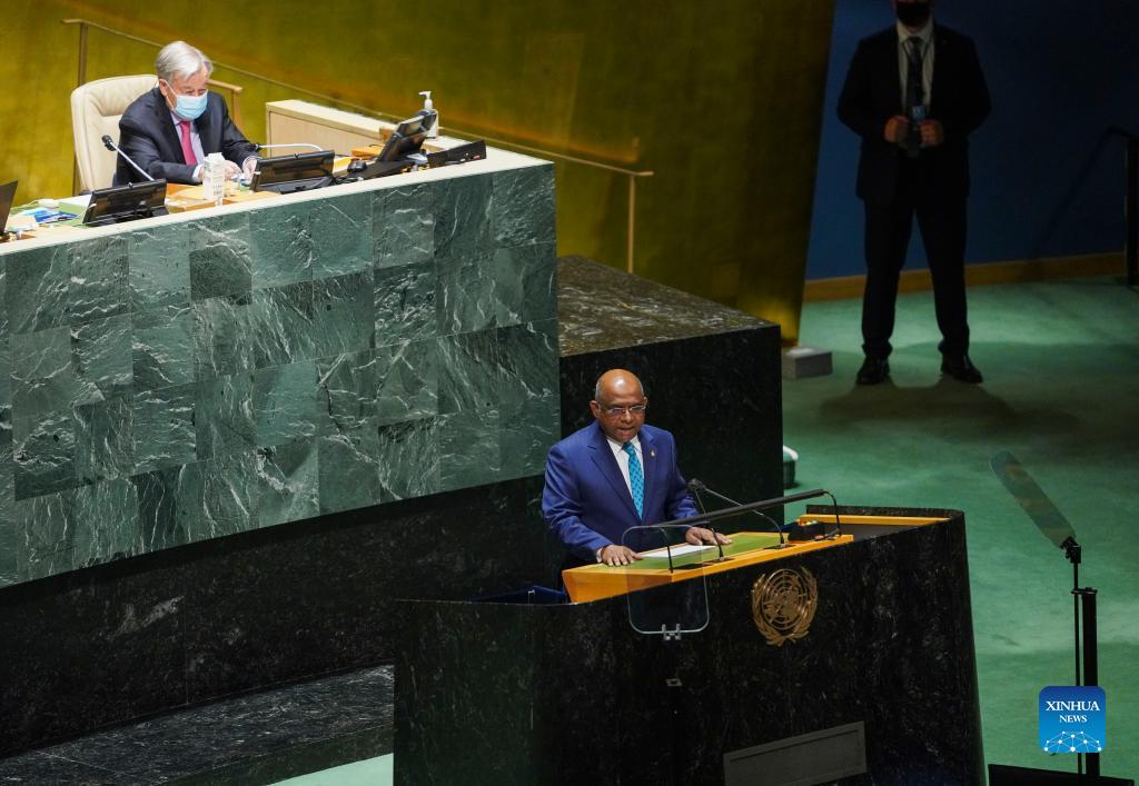 Abdulla Shahid (Front), president of the 76th session of the United Nations General Assembly, presides over the opening of the General Debate of the 76th session of the UN General Assembly at the UN headquarters in New York, on Sept. 21, 2021. The General Debate of the 76th session of the UN General Assembly opened on Tuesday. (Xinhua/Wang Ying)