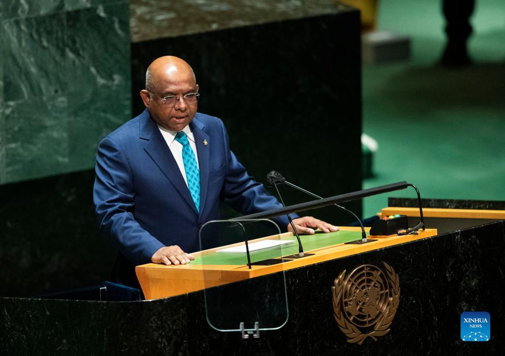 Abdulla Shahid, president of the 76th session of the United Nations General Assembly, presides over the opening of the General Debate of the 76th session of the UN General Assembly at the UN headquarters in New York, on Sept. 21, 2021. The General Debate of the 76th session of the UN General Assembly opened on Tuesday. (Xinhua/Wang Ying)