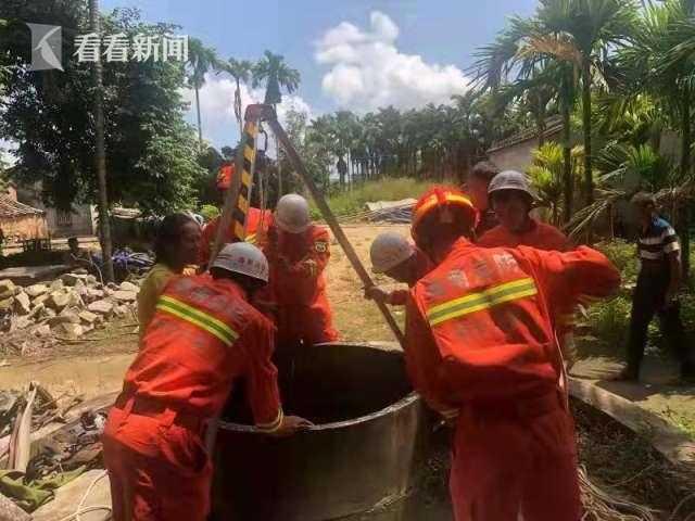 视频|中年男子突然跳井被困 消防员紧急救援