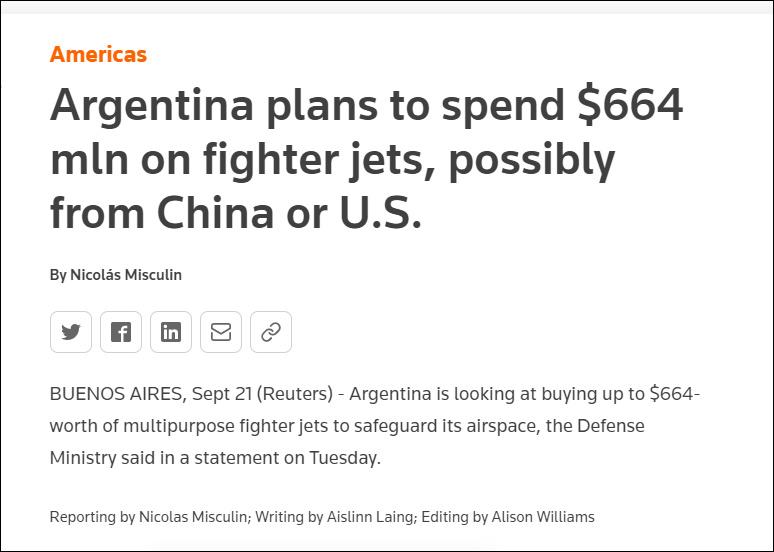 阿根廷斥资6.6亿美元采购新战机:或买枭龙