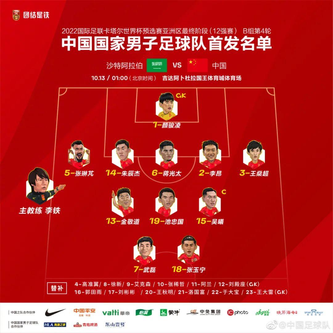 国足本场首发阵容。图片来源:中国足球队。