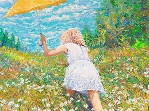美女画家用颜料触摸这个色彩斑斓的世界