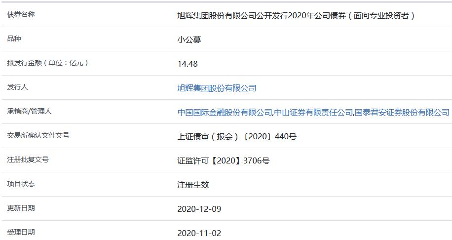 旭辉集团14.48亿元小公募公司债券在上交所注册生效