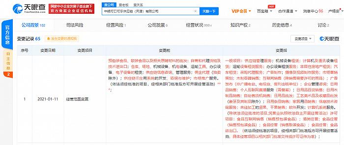 """中粮可口可乐供应链(天津)有限公司经营范围新增""""个人互联网直播服务"""""""