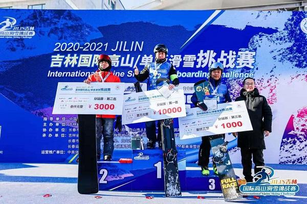 戴Reanson goggles王磊 蝉联吉林国际高山单板滑雪挑战赛冠军