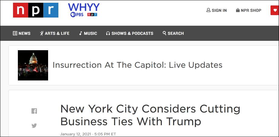 纽约市政府正考虑终止与特朗普集团的合同
