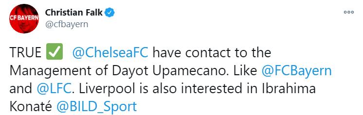 法尔克:切尔西将与利物浦和拜仁竞争于帕梅卡诺