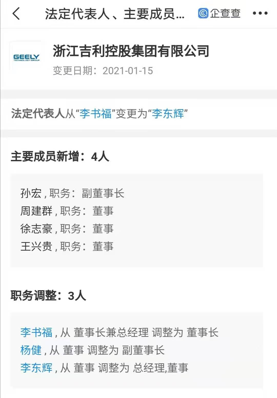 李书福退出浙江吉利控股集团有限公司法定代表人,由李东辉接任