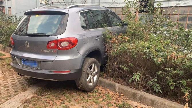曲靖市麒麟区一SUV冲上花台悬空5米 女司机在车内不敢动弹