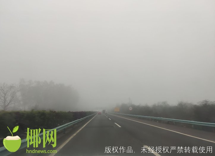 东线高速(新坡至定安段)大雾,注意行车安全