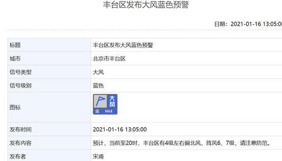 阵风6、7级!北京朝阳海淀等7区发布大风蓝色预警