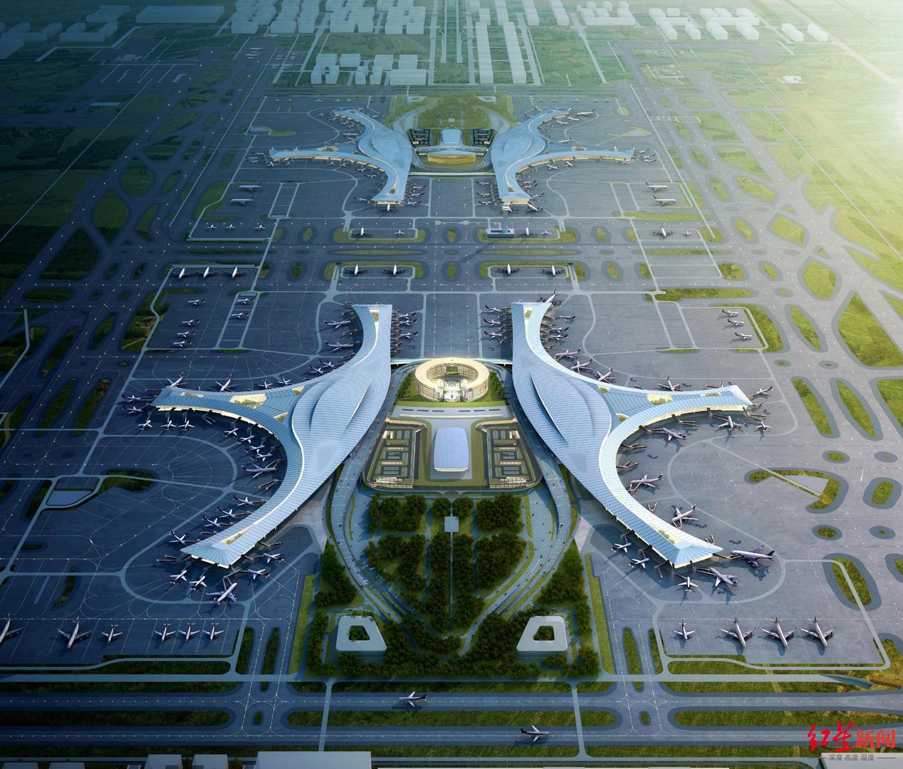 """走进重大项目丨在""""天府之眼""""看飞机起降,成都天府国际机场酒店预计6月建成"""
