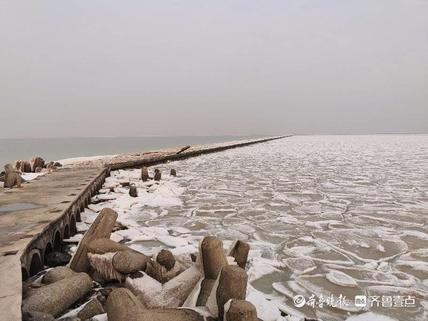 孤东海堤:半冰半海美如画