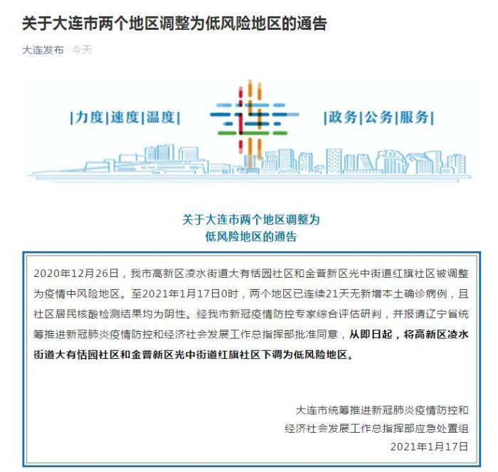 辽宁大连两个中风险地区调整为低风险地区