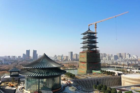 中国大运河博物馆建设推进大运塔掀开面纱
